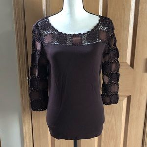 Joseph A. Leather/Embroidery 3/4 Sleeve Top